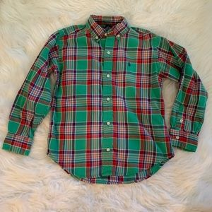~Polo Ralph Lauren~ Green plaid dress shirt